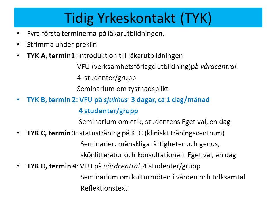 Innehåll TYK B 3 dagar VFU (=verksamhetsförlagd utbildning) dvs praktik på sjukhus med handledare: Inblick i praktikplatsen Varför söker patienten.