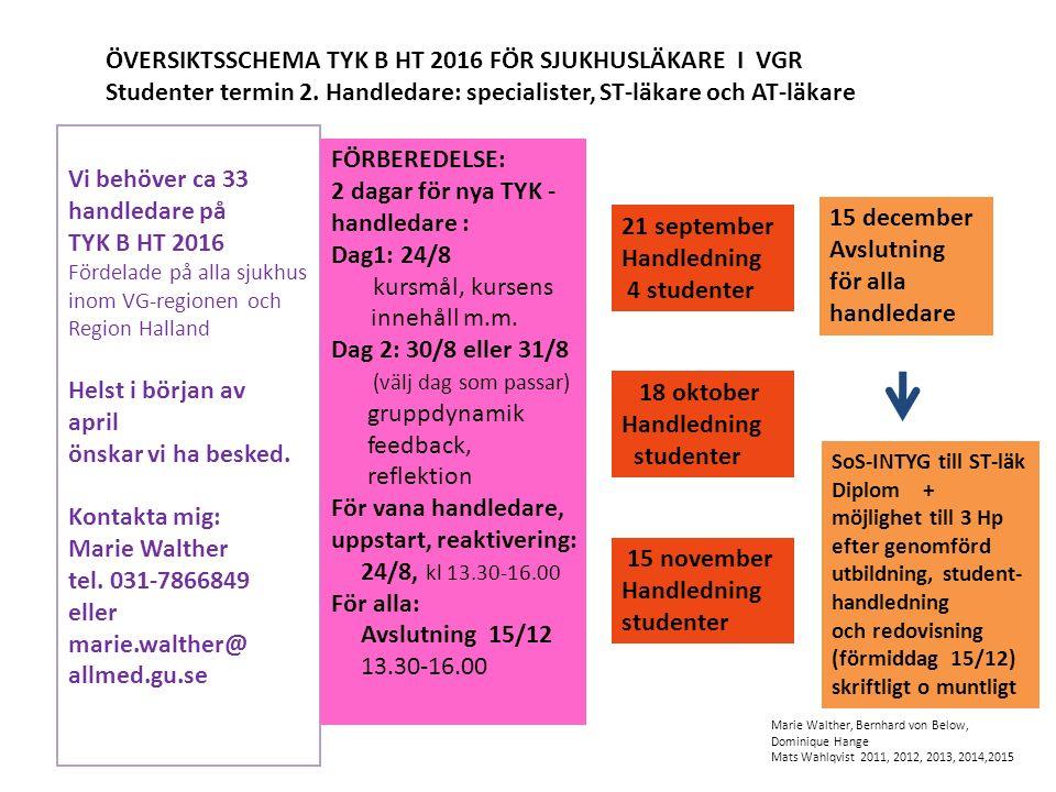 ÖVERSIKTSSCHEMA TYK B HT 2016 FÖR SJUKHUSLÄKARE I VGR Studenter termin 2.