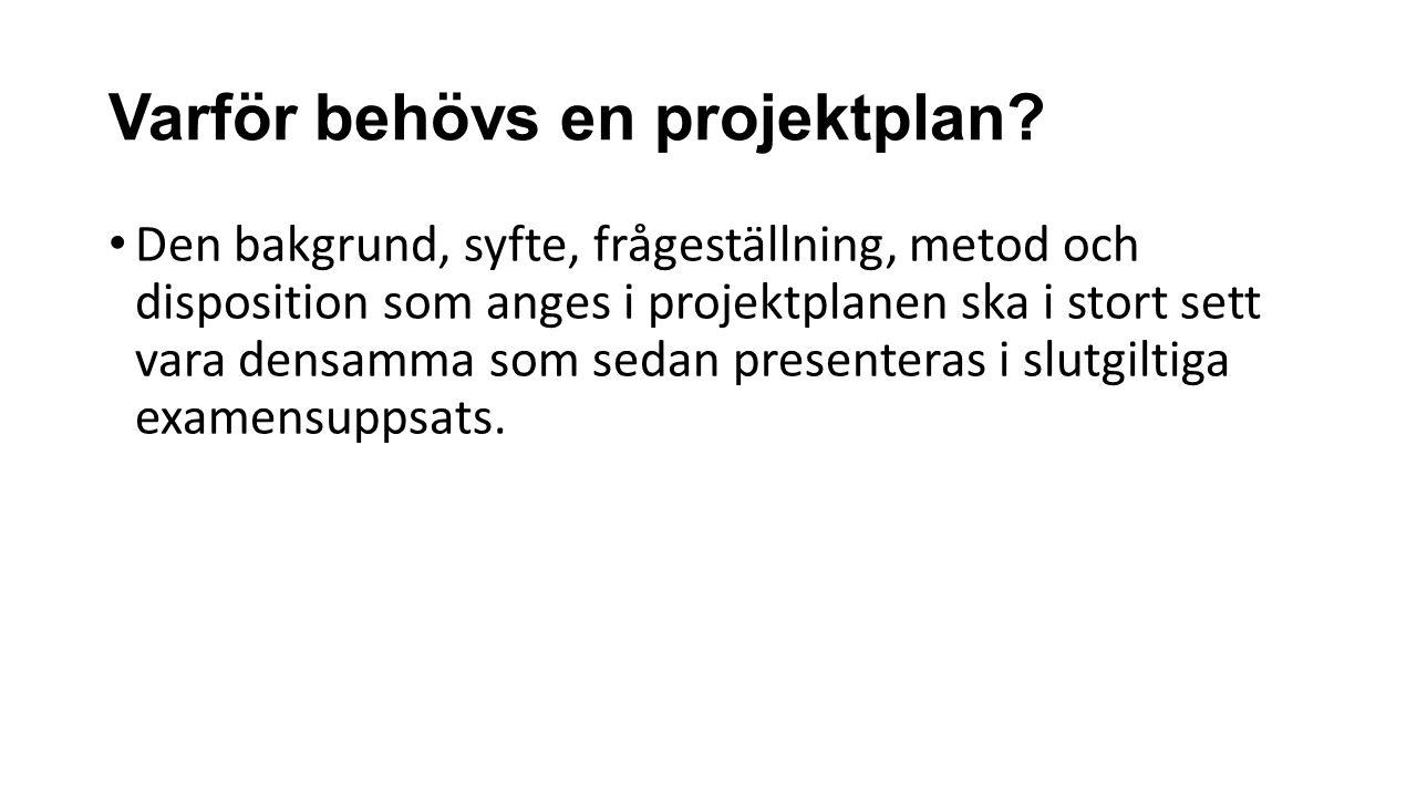 Varför behövs en projektplan.