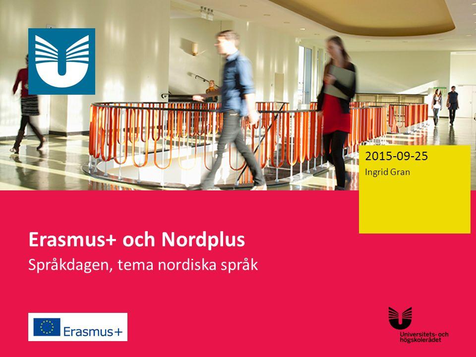 Sv Erasmus+ och Nordplus Språkdagen, tema nordiska språk Ingrid Gran 2015-09-25