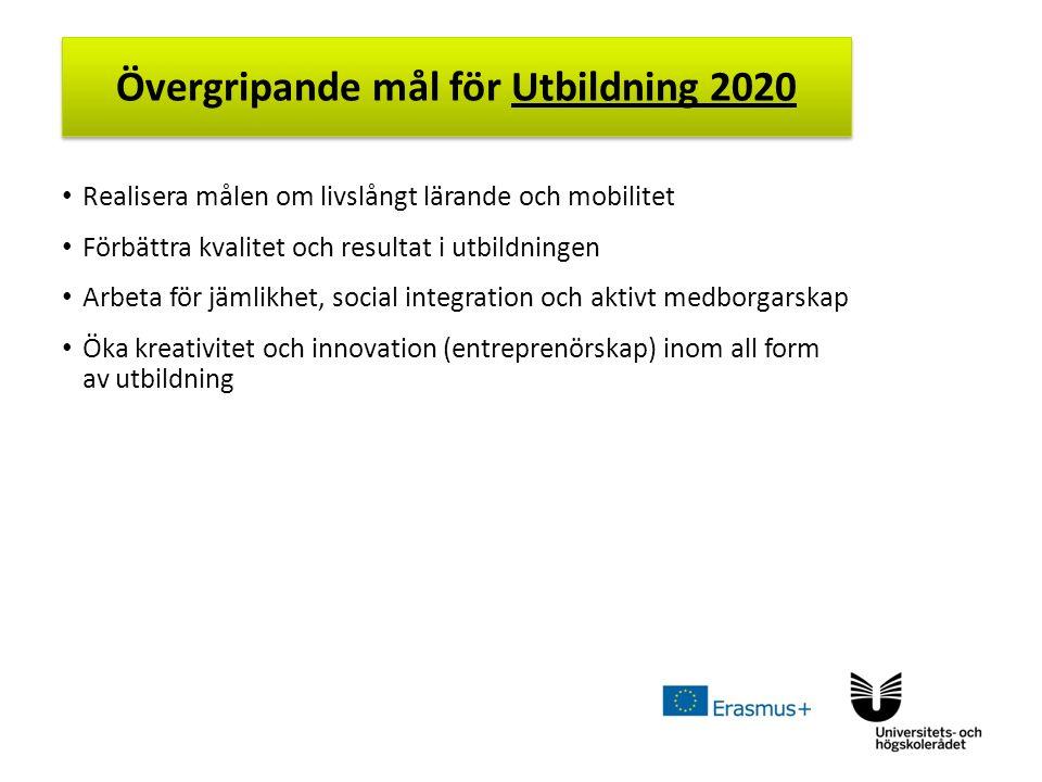 Sv Realisera målen om livslångt lärande och mobilitet Förbättra kvalitet och resultat i utbildningen Arbeta för jämlikhet, social integration och aktivt medborgarskap Öka kreativitet och innovation (entreprenörskap) inom all form av utbildning Övergripande mål för Utbildning 2020