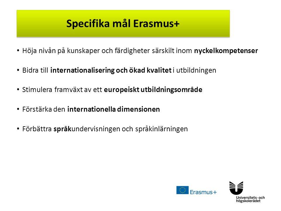 Sv Höja nivån på kunskaper och färdigheter särskilt inom nyckelkompetenser Bidra till internationalisering och ökad kvalitet i utbildningen Stimulera framväxt av ett europeiskt utbildningsområde Förstärka den internationella dimensionen Förbättra språkundervisningen och språkinlärningen Specifika mål Erasmus+