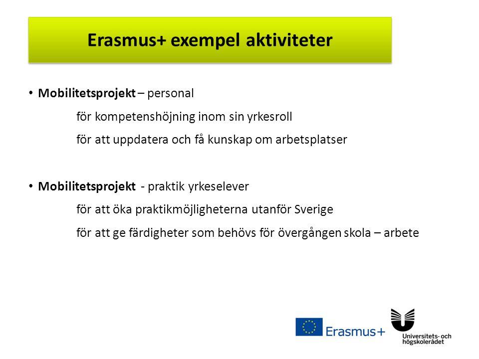 Sv Mobilitetsprojekt – personal för kompetenshöjning inom sin yrkesroll för att uppdatera och få kunskap om arbetsplatser Mobilitetsprojekt - praktik yrkeselever för att öka praktikmöjligheterna utanför Sverige för att ge färdigheter som behövs för övergången skola – arbete Erasmus+ exempel aktiviteter