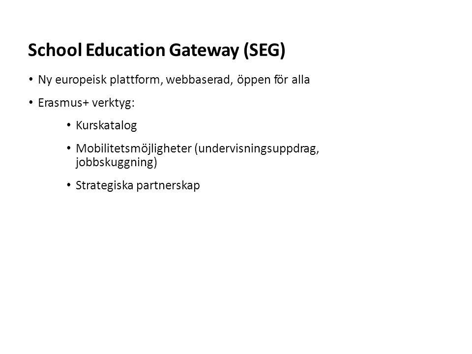 Sv Ny europeisk plattform, webbaserad, öppen för alla Erasmus+ verktyg: Kurskatalog Mobilitetsmöjligheter (undervisningsuppdrag, jobbskuggning) Strategiska partnerskap School Education Gateway (SEG)