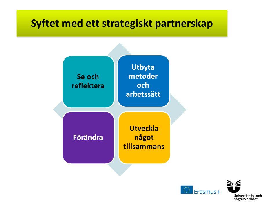 Sv Syftet med ett strategiskt partnerskap Se och reflektera Utbyta metoder och arbetssätt Förändra Utveckla något tillsammans