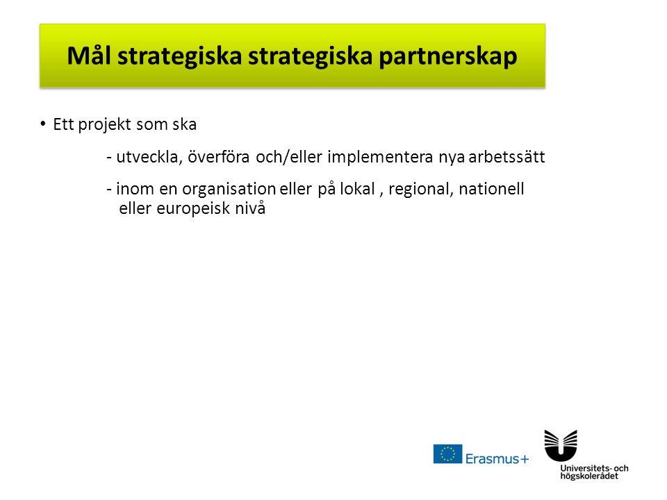 Sv Ett projekt som ska - utveckla, överföra och/eller implementera nya arbetssätt - inom en organisation eller på lokal, regional, nationell eller europeisk nivå Mål strategiska strategiska partnerskap