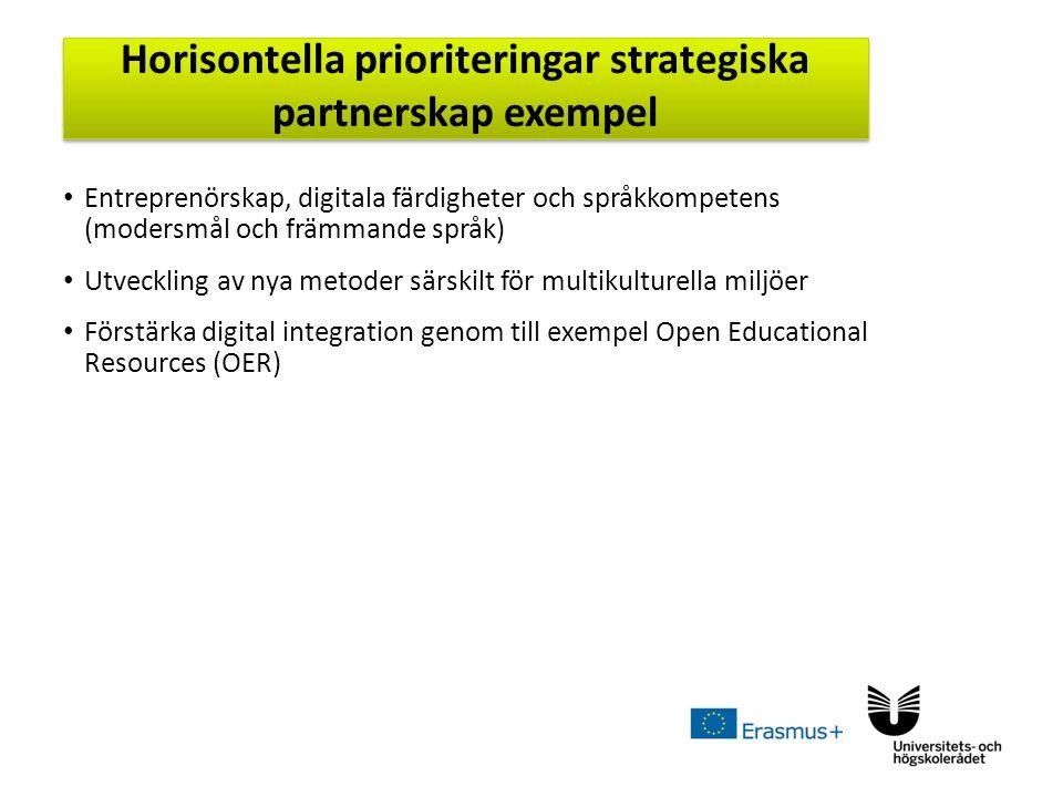 Sv Entreprenörskap, digitala färdigheter och språkkompetens (modersmål och främmande språk) Utveckling av nya metoder särskilt för multikulturella miljöer Förstärka digital integration genom till exempel Open Educational Resources (OER) Horisontella prioriteringar strategiska partnerskap exempel