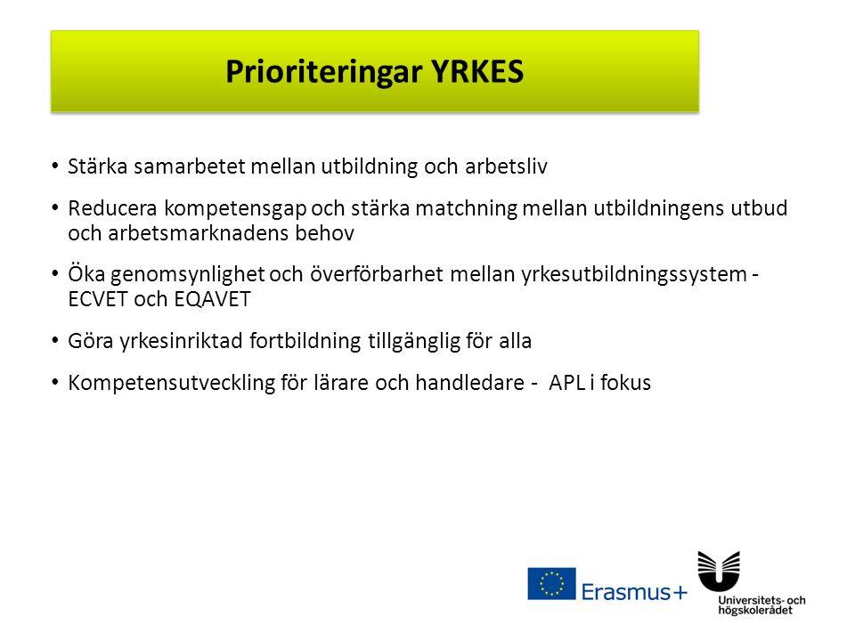Sv Stärka samarbetet mellan utbildning och arbetsliv Reducera kompetensgap och stärka matchning mellan utbildningens utbud och arbetsmarknadens behov Öka genomsynlighet och överförbarhet mellan yrkesutbildningssystem - ECVET och EQAVET Göra yrkesinriktad fortbildning tillgänglig för alla Kompetensutveckling för lärare och handledare - APL i fokus Prioriteringar YRKES
