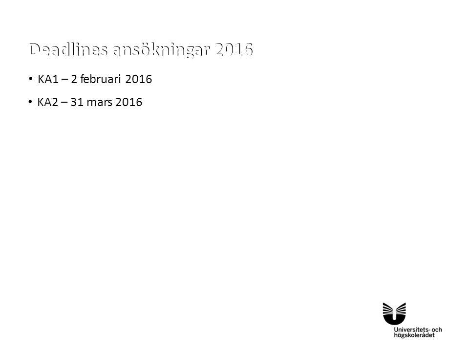 Sv KA1 – 2 februari 2016 KA2 – 31 mars 2016 KA1 – 2 februari 2016 KA2 – 31 mars 2016 Deadlines ansökningar 2016