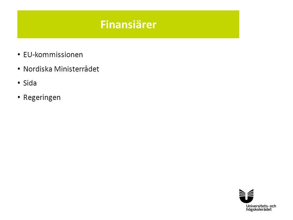 Sv EU-kommissionen Nordiska Ministerrådet Sida Regeringen Finansiärer