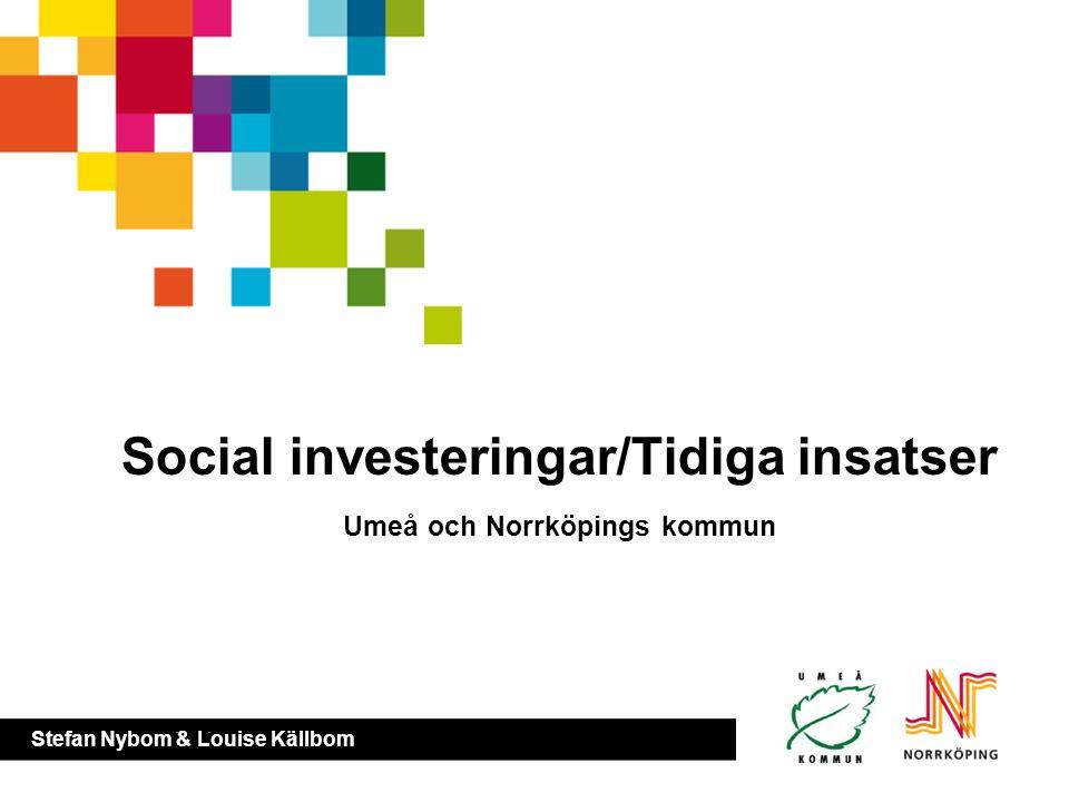 Sociala investeringar / tidiga insatser Louise Källbom Stefan Nybom Inledning – förebyggande insatser Ex – umeå och norrkoping Psynk Frågor Social inv