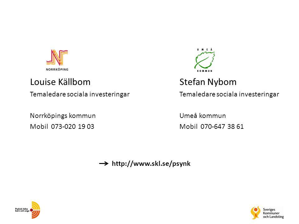 Louise KällbomStefan NybomTemaledare sociala investeringar Norrköpings kommunUmeå kommun Mobil 073-020 19 03Mobil 070-647 38 61 http://www.skl.se/psyn