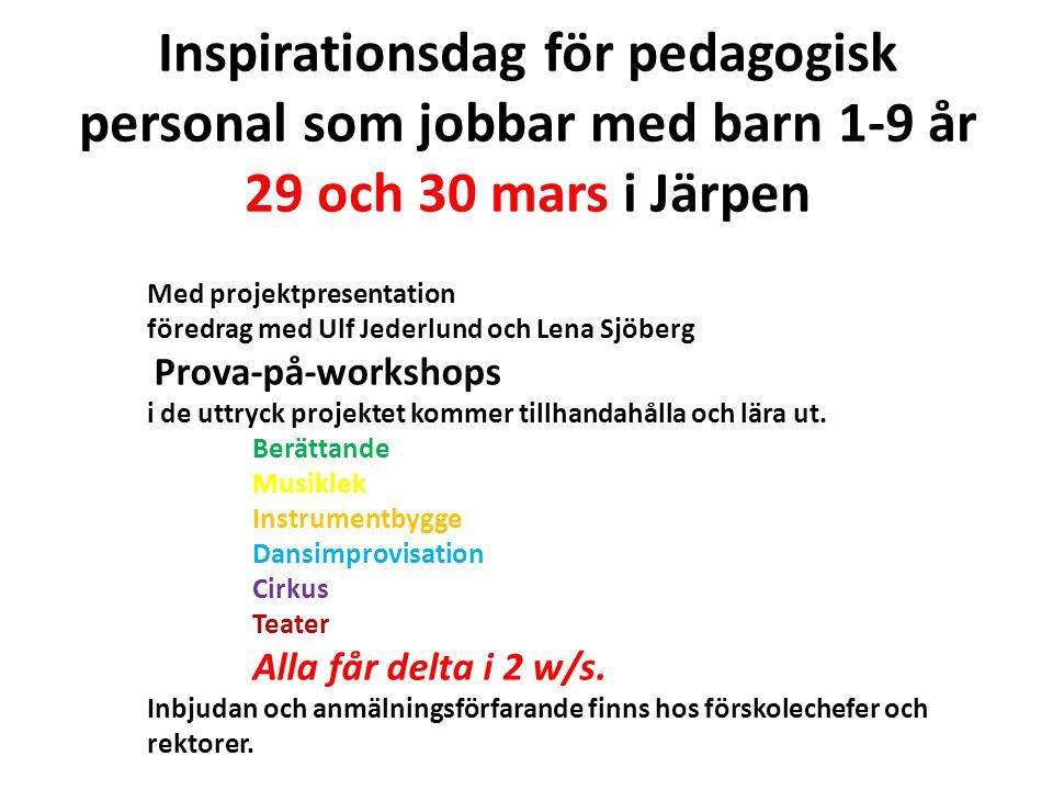 Inspirationsdag för pedagogisk personal som jobbar med barn 1-9 år 29 och 30 mars i Järpen Med projektpresentation föredrag med Ulf Jederlund och Lena