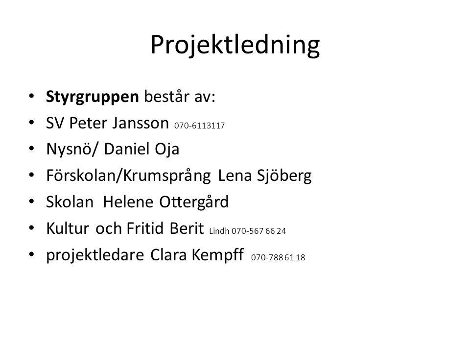 Projektledning Styrgruppen består av: SV Peter Jansson 070-6113117 Nysnö/ Daniel Oja Förskolan/Krumsprång Lena Sjöberg Skolan Helene Ottergård Kultur