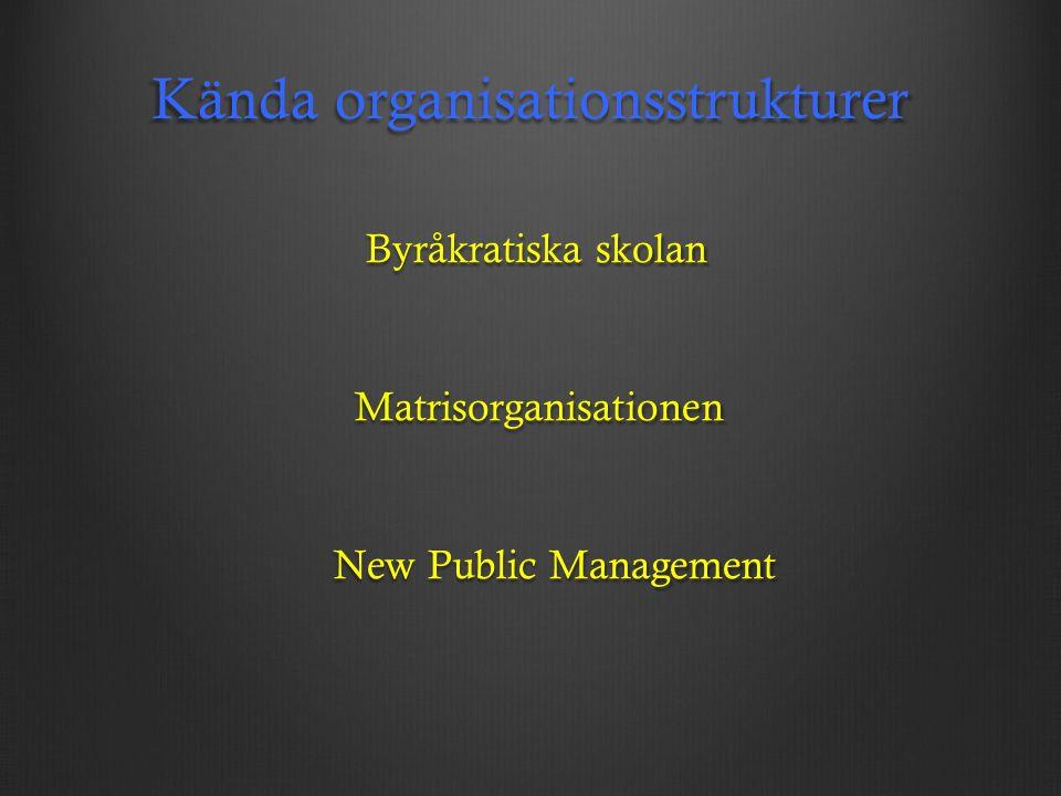 Kända organisationsstrukturer Byråkratiska skolan Byråkratiska skolan Matrisorganisationen Matrisorganisationen New Public Management New Public Management