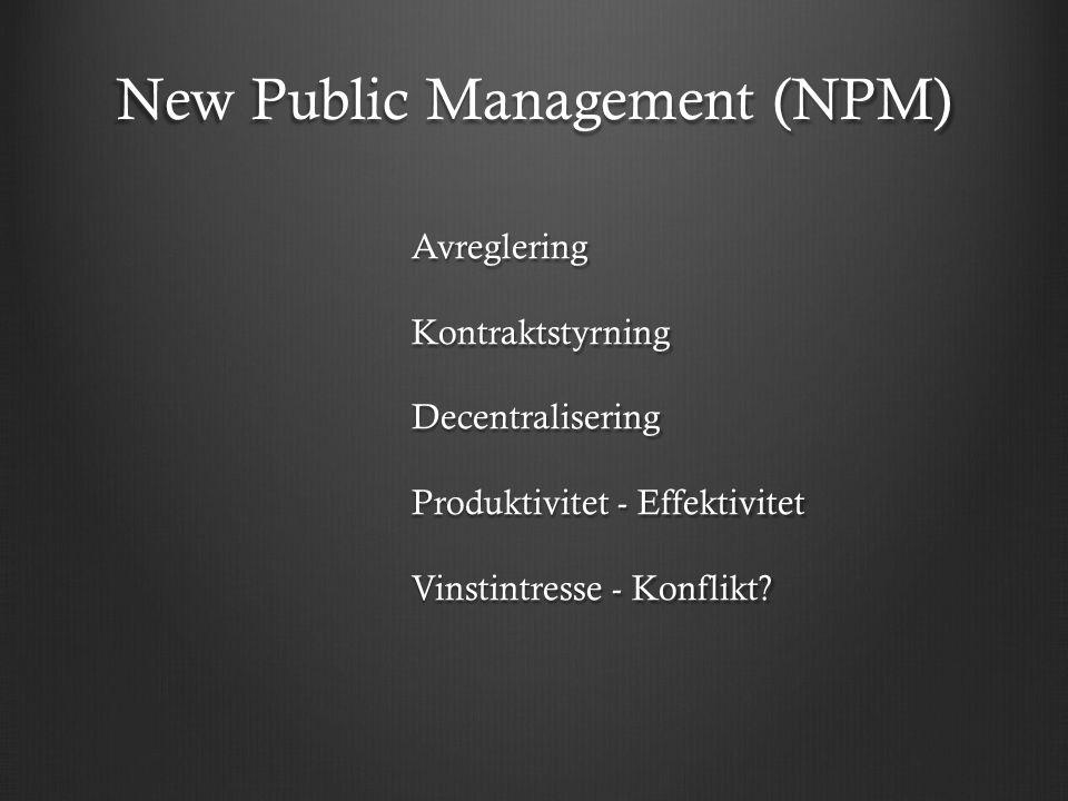 New Public Management (NPM) Avreglering Kontraktstyrning Decentralisering Produktivitet - Effektivitet Vinstintresse - Konflikt