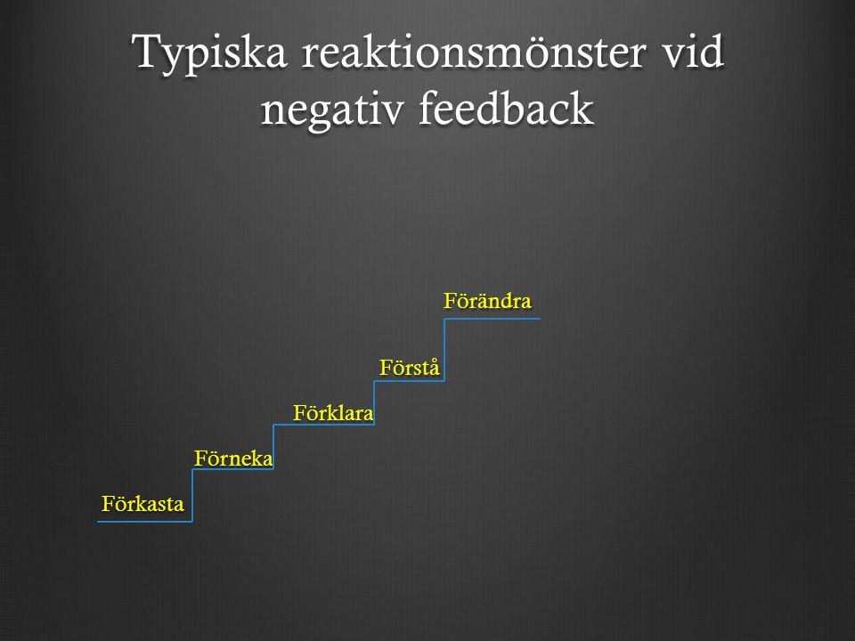 Typiska reaktionsmönster vid negativ feedback Förändra Förändra Förstå Förstå Förklara Förklara Förneka Förneka Förkasta Förkasta