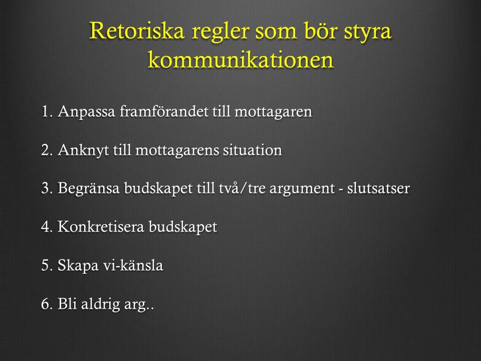Retoriska regler som bör styra kommunikationen 1. Anpassa framförandet till mottagaren 2.