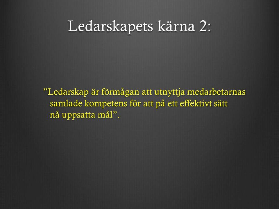 Ledarskapets kärna 2: Ledarskap är förmågan att utnyttja medarbetarnas samlade kompetens för att på ett effektivt sätt nå uppsatta mål .