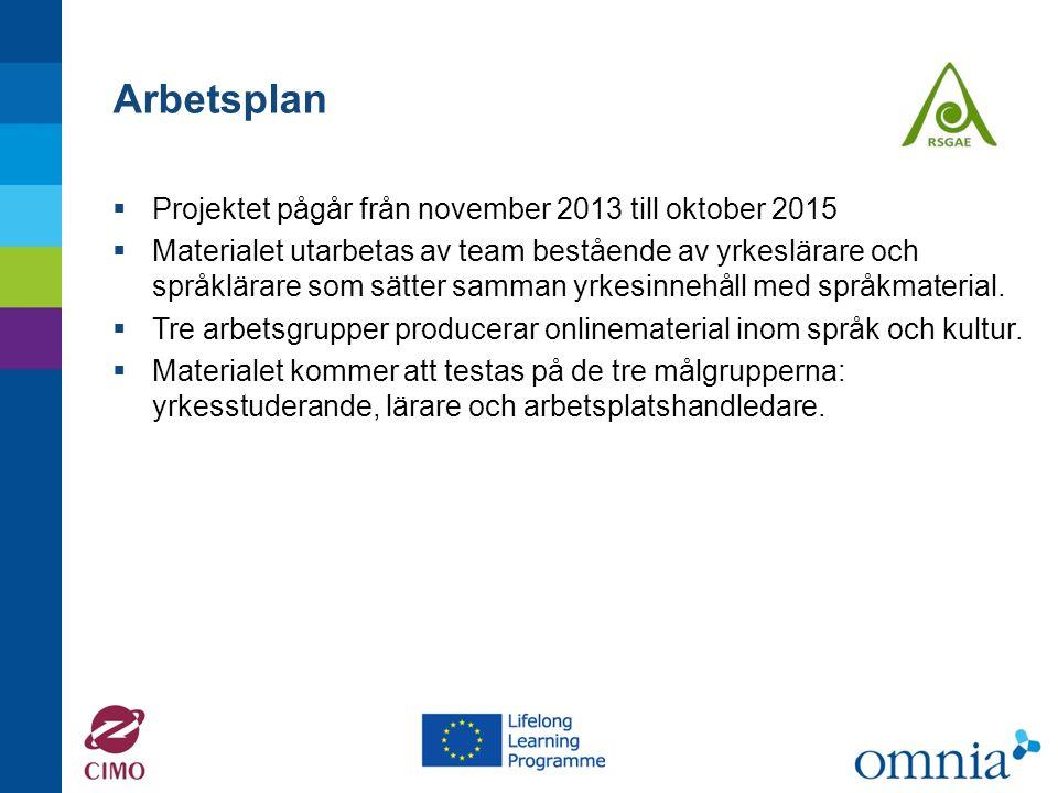 Arbetsplan  Projektet pågår från november 2013 till oktober 2015  Materialet utarbetas av team bestående av yrkeslärare och språklärare som sätter samman yrkesinnehåll med språkmaterial.