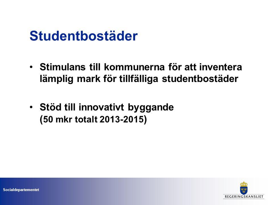 Socialdepartementet Studentbostäder Stimulans till kommunerna för att inventera lämplig mark för tillfälliga studentbostäder Stöd till innovativt byggande ( 50 mkr totalt 2013-2015 )