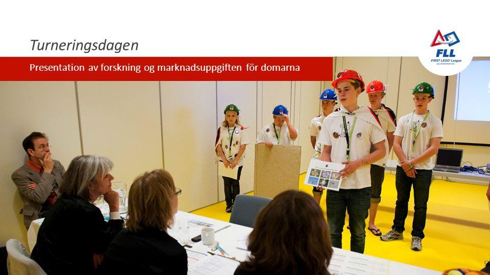 Turneringsdagen Presentation av forskning og marknadsuppgiften för domarna