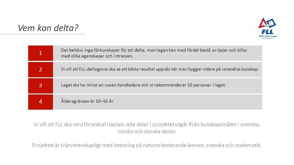 Vem kan delta? Vi vill att FLL ska vara förankrat i skolan. Alla delar i projektet utgår ifrån kunskapsmålen i svenska, norska och danska skolor. Proj