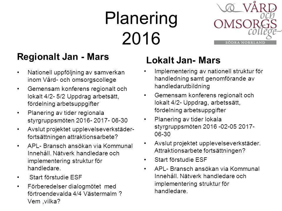 Planering 2016 Regionalt Jan - Mars Nationell uppföljning av samverkan inom Vård- och omsorgscollege Gemensam konferens regionalt och lokalt 4/2- 5/2 Uppdrag arbetsätt, fördelning arbetsuppgifter Planering av tider regionala styrgruppsmöten 2016- 2017- 06-30 Avslut projektet upplevelseverkstäder- fortsättningen attraktionsarbete.
