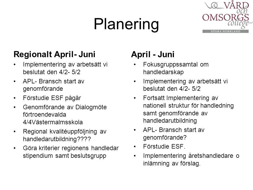 Planering Regionalt April- Juni Implementering av arbetsätt vi beslutat den 4/2- 5/2 APL- Bransch start av genomförande Förstudie ESF pågår Genomförande av Dialogmöte förtroendevalda 4/4Västermalmsskola Regional kvalitéuppföljning av handledarutbildning .