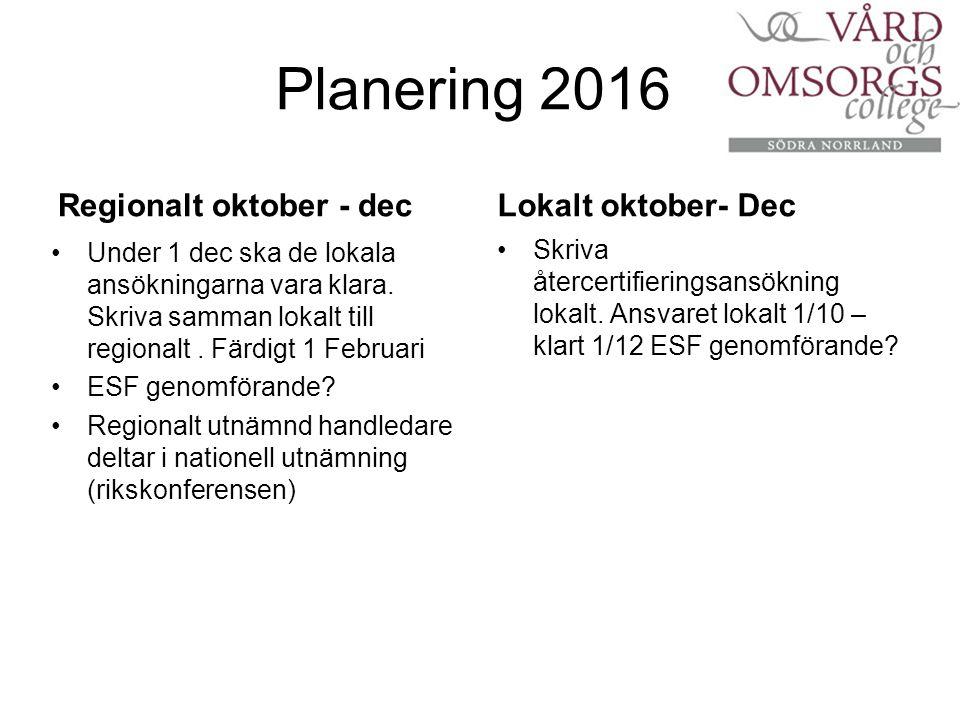 Planering 2016 Regionalt oktober - dec Under 1 dec ska de lokala ansökningarna vara klara.