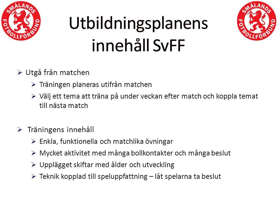  Utgå från matchen  Träningen planeras utifrån matchen  Välj ett tema att träna på under veckan efter match och koppla temat till nästa match  Trä
