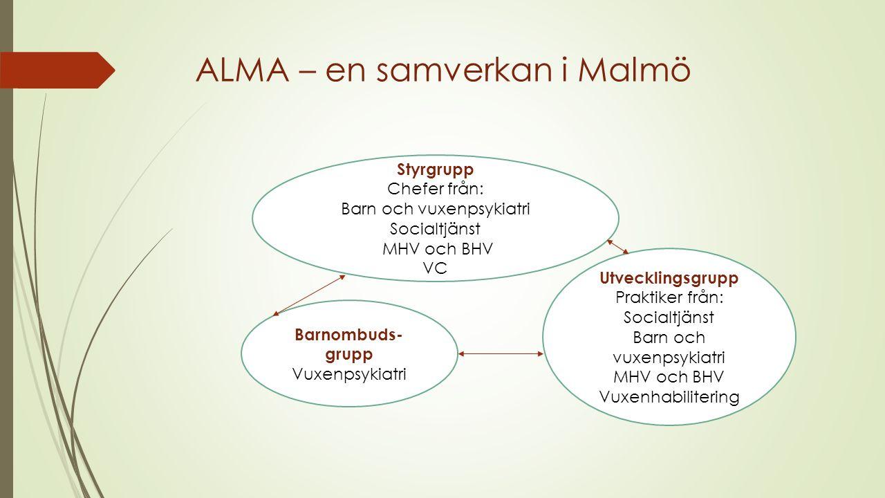 ALMA – en samverkan i Malmö Styrgrupp Chefer från: Barn och vuxenpsykiatri Socialtjänst MHV och BHV VC Utvecklingsgrupp Praktiker från: Socialtjänst B