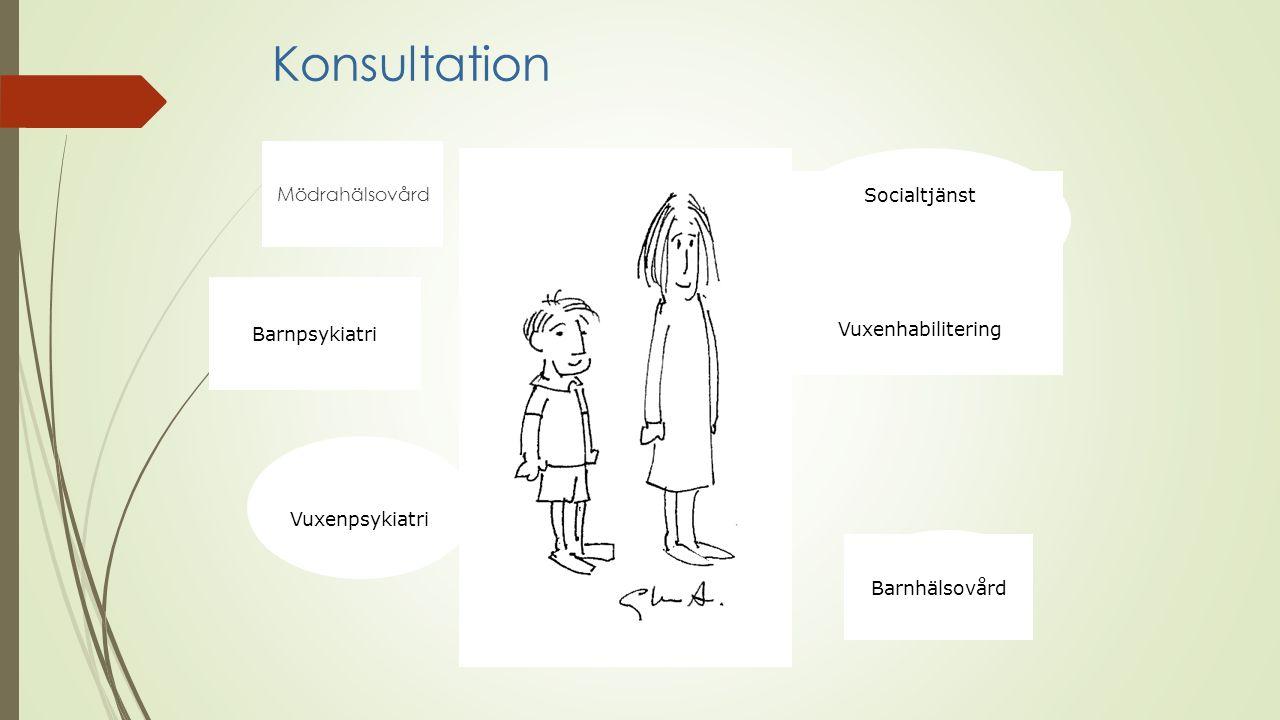 Konsultation Mödrahälsovård Barnpsykiatri Vuxenpsykiatri Socialtjänst Vuxenhabilitering Barnhälsovård