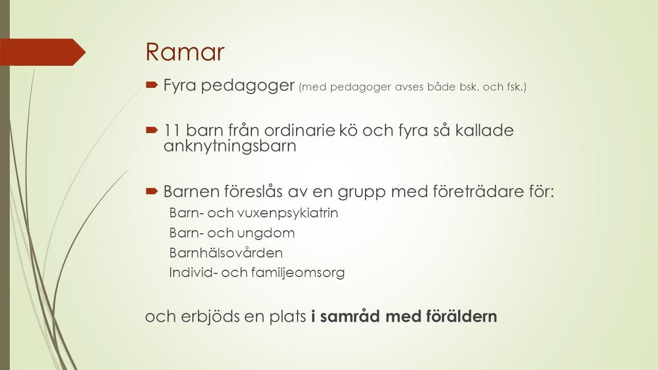 Ramar  Fyra pedagoger (med pedagoger avses både bsk. och fsk.)  11 barn från ordinarie kö och fyra så kallade anknytningsbarn  Barnen föreslås av e