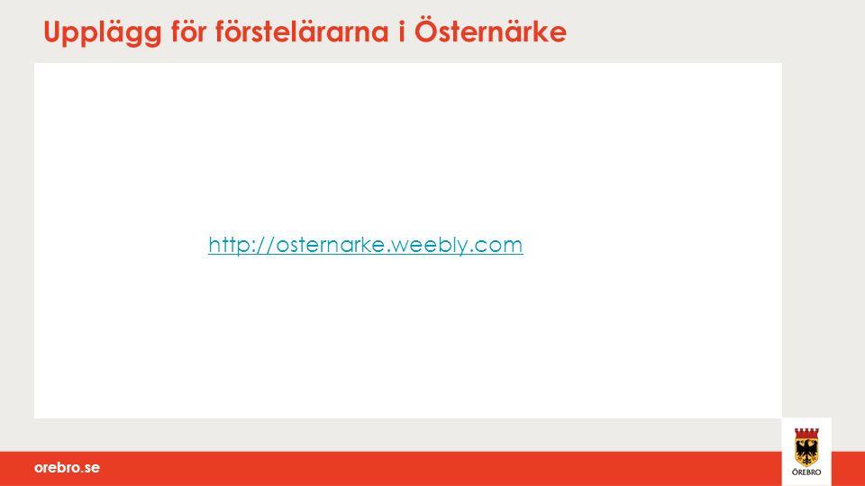 orebro.se Upplägg för förstelärarna i Östernärke http://osternarke.weebly.com