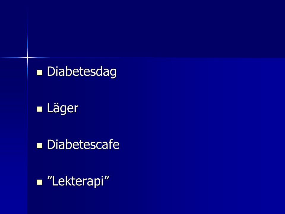Diabetesdag Diabetesdag Läger Läger Diabetescafe Diabetescafe Lekterapi Lekterapi