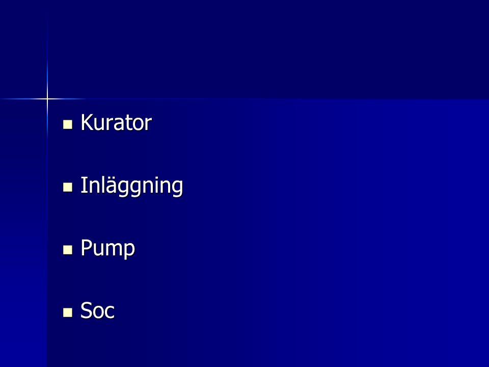 Kurator Kurator Inläggning Inläggning Pump Pump Soc Soc