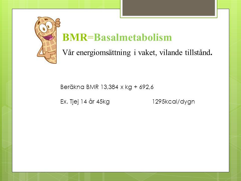 BMR=Basalmetabolism Vår energiomsättning i vaket, vilande tillstånd. Beräkna BMR 13,384 x kg + 692,6 Ex. Tjej 14 år 45kg 1295kcal/dygn