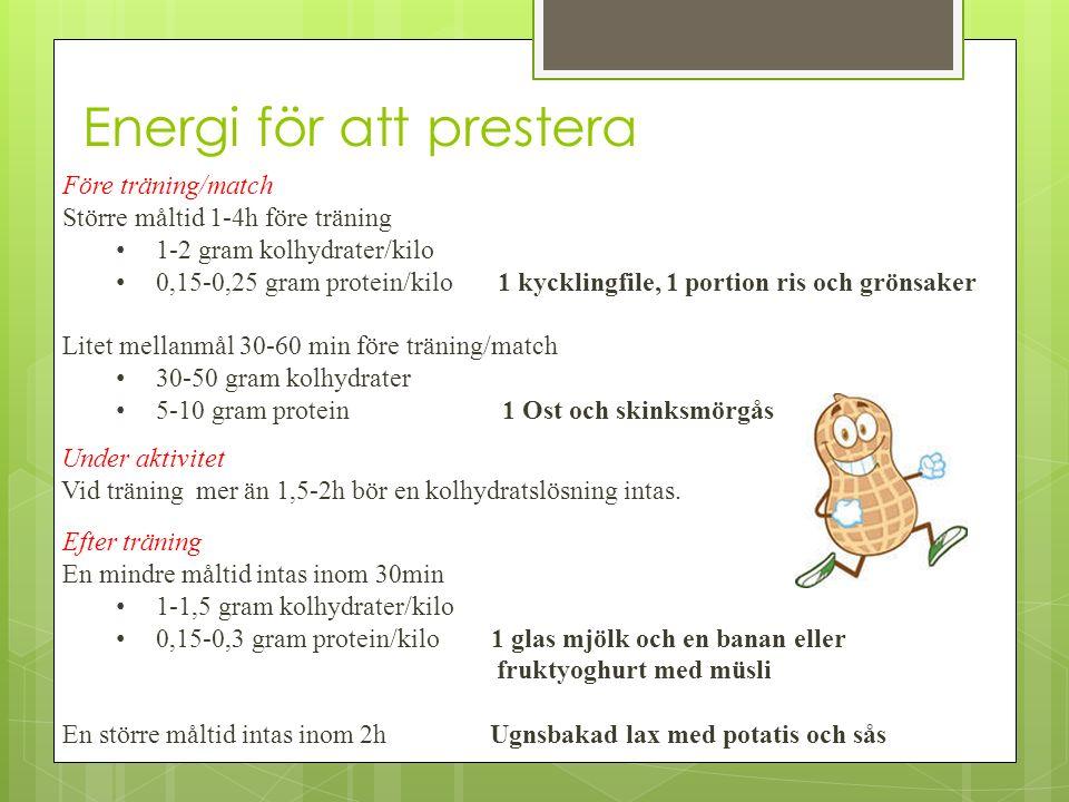 Energi för att prestera Före träning/match Större måltid 1-4h före träning 1-2 gram kolhydrater/kilo 0,15-0,25 gram protein/kilo 1 kycklingfile, 1 por