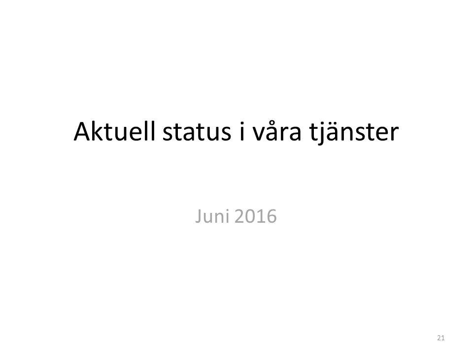 Aktuell status i våra tjänster Juni 2016 21