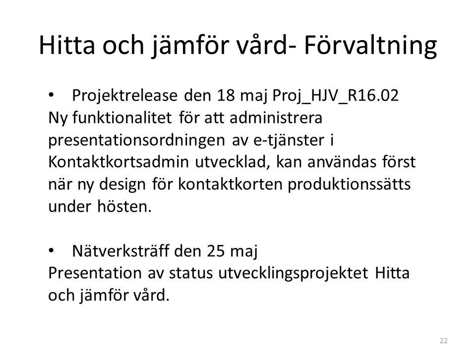 Hitta och jämför vård- Förvaltning 22 Projektrelease den 18 maj Proj_HJV_R16.02 Ny funktionalitet för att administrera presentationsordningen av e-tjänster i Kontaktkortsadmin utvecklad, kan användas först när ny design för kontaktkorten produktionssätts under hösten.