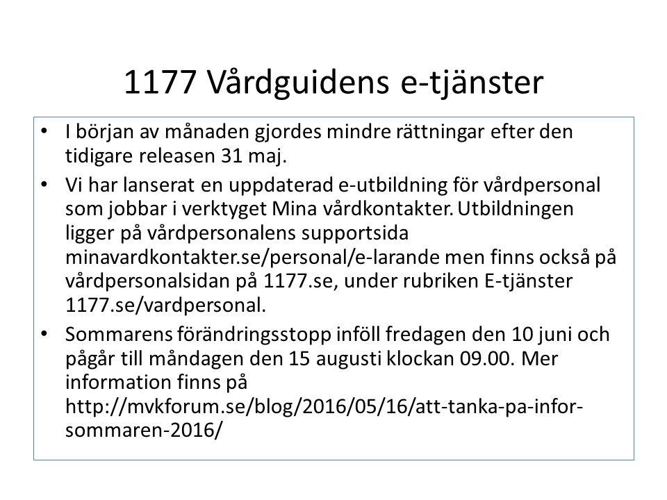1177 Vårdguidens e-tjänster I början av månaden gjordes mindre rättningar efter den tidigare releasen 31 maj.