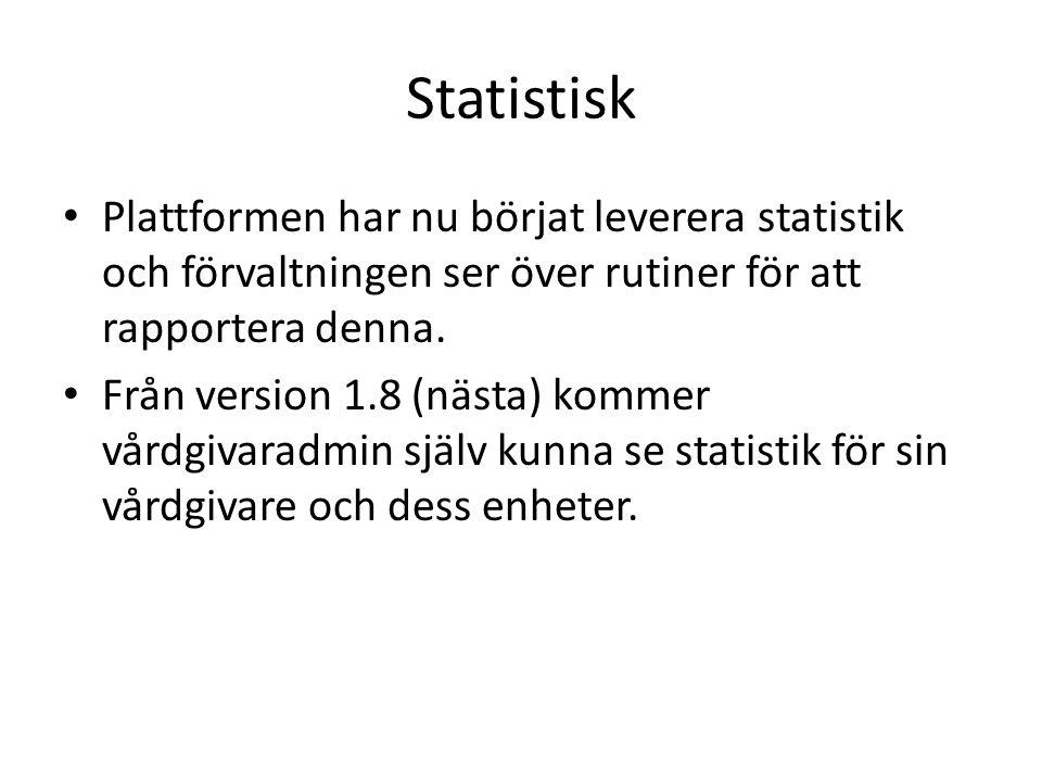 Statistisk Plattformen har nu börjat leverera statistik och förvaltningen ser över rutiner för att rapportera denna.