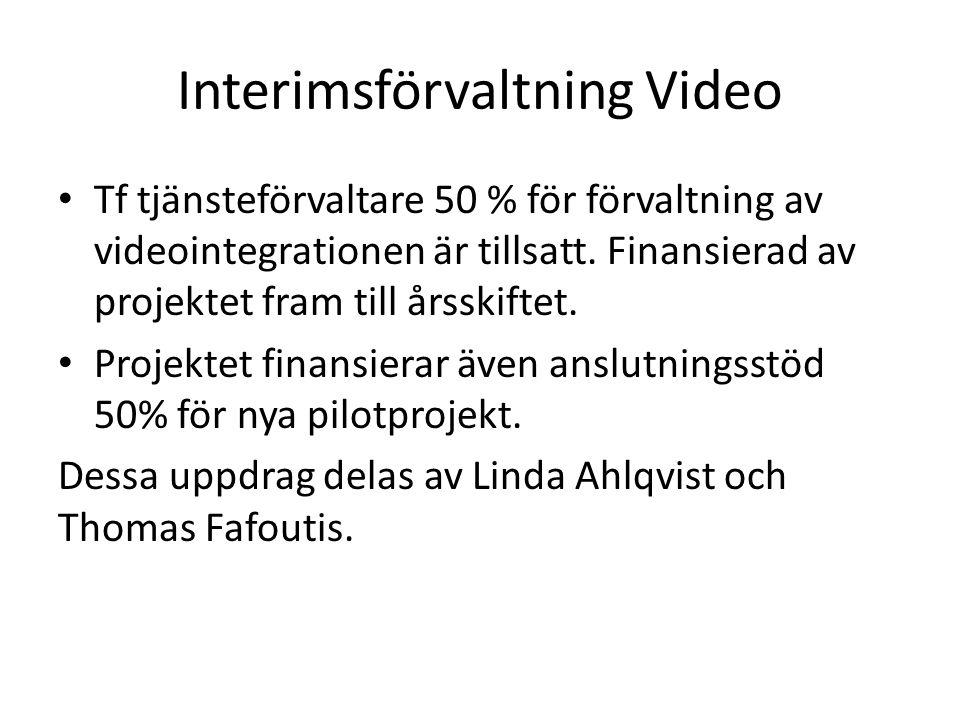Interimsförvaltning Video Tf tjänsteförvaltare 50 % för förvaltning av videointegrationen är tillsatt.