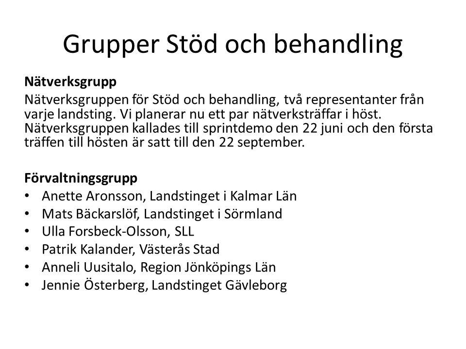 Grupper Stöd och behandling Nätverksgrupp Nätverksgruppen för Stöd och behandling, två representanter från varje landsting.