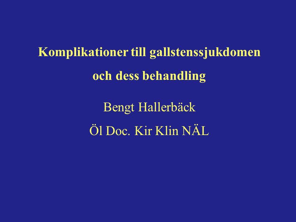 Komplikationer till gallstenssjukdomen och dess behandling Bengt Hallerbäck Öl Doc. Kir Klin NÄL