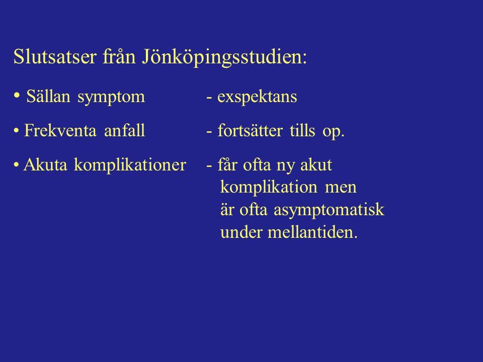 Slutsatser från Jönköpingsstudien: Sällan symptom- exspektans Frekventa anfall- fortsätter tills op.