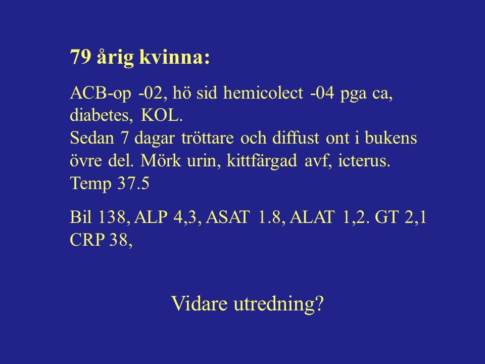 79 årig kvinna: ACB-op -02, hö sid hemicolect -04 pga ca, diabetes, KOL.