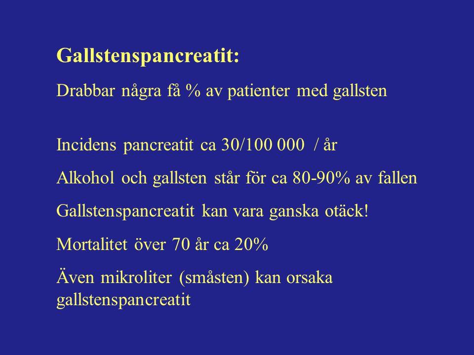 Gallstenspancreatit: Drabbar några få % av patienter med gallsten Incidens pancreatit ca 30/100 000 / år Alkohol och gallsten står för ca 80-90% av fallen Gallstenspancreatit kan vara ganska otäck.