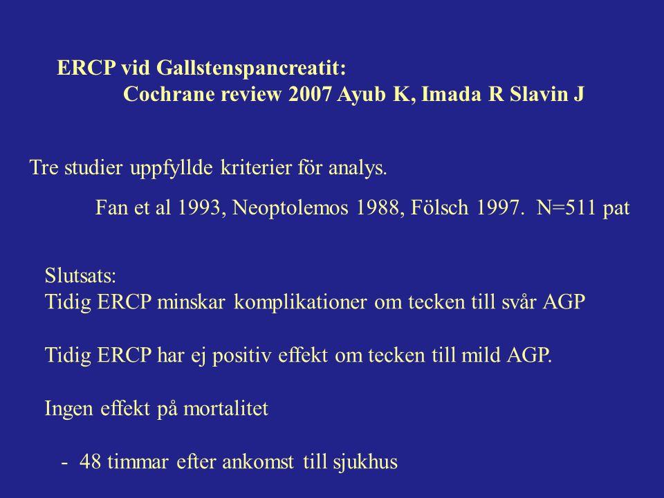 ERCP vid Gallstenspancreatit: Cochrane review 2007 Ayub K, Imada R Slavin J Tre studier uppfyllde kriterier för analys.